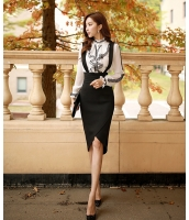 【即納】ハイウエストサイドファスナー付き裾非対称細身タイト取り外しサスペンダー付き膝丈スカート tk-w6020-xs-bk【カラー:ブラック】【サイズ:XS】