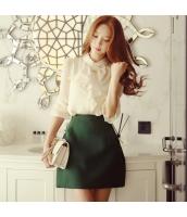 スカート ミニ 台形 ファッション あわせ易い ハイウエスト 着やせ 無地  w8280-1