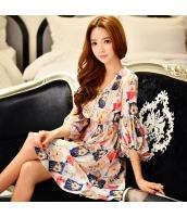 ワンピース ミニ バルーンワンピ ファッション プリント Vネック 七分袖  w8370-1
