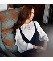 シャツ その他 ファッション 細身 重ね着風 スカラップ w8653-1