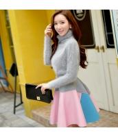 スカート ミニ フレア・ギャザー ファッション 大裾 w8863-1