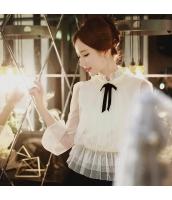 シャツ 無地 長袖 細身 ガーゼ 燈籠袖 w8914-1