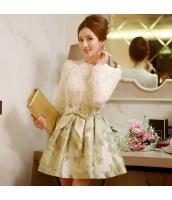 スカート ミニ フレア・ギャザー ファッション 提花 ハイウエスト 着やせ 大裾 w8980-1