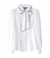 ガーベラレディース 着やせ 蝶結び レース襟 シャツ 長袖 w9399-1