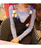 ガーベラレディース 着やせ 花柄襟 コーデアイテム Tシャツ・カットソー 長袖 w9500-2