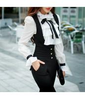 ガーベラレディース 蝶結び トップス ぺプラム裾 ホワイト ブラウス シャツ 長袖 w9531-1
