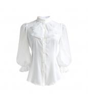 ガーベラレディース シャツ 七分袖 立て襟 ランタン袖 w9831-1