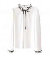 ガーベラレディース ブラウス 長袖 立て襟 w9842-1
