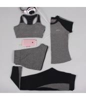 ヨガ フィットネス トレーニング 半袖Tシャツ+タンクトップ+重ね着風パンツ(取り外し可能)4点セット アンサンブル スポーツウェア ピラティス ジム ダンス ランニング シェイプアップ ダイエット xmn1701-2