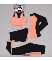 ヨガ フィットネス トレーニング 長袖Tシャツ+タンクトップ+重ね着風パンツ(取り外し可能)4点セット アンサンブル スポーツウェア ピラティス ジム ダンス ランニング シェイプアップ ダイエット xmn1701-5