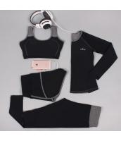 ヨガ フィットネス トレーニング 長袖Tシャツ+タンクトップ+重ね着風パンツ(取り外し可能)4点セット アンサンブル スポーツウェア ピラティス ジム ダンス ランニング シェイプアップ ダイエット xmn1705-5