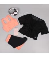 ヨガ フィットネス トレーニング 半袖Tシャツ+タンクトップ+ショートパンツ3点セット アンサンブル スポーツウェア ピラティス ジム ダンス ランニング シェイプアップ ダイエット xmn1709-4