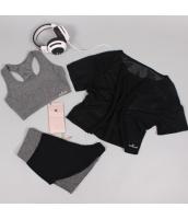 ヨガ フィットネス トレーニング 半袖Tシャツ+タンクトップ+ショートパンツ3点セット アンサンブル スポーツウェア ピラティス ジム ダンス ランニング シェイプアップ ダイエット xmn1709-7