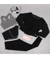 ヨガ フィットネス トレーニング 長袖Tシャツ+タンクトップ+重ね着風パンツ(取り外し可能)4点セット アンサンブル スポーツウェア ピラティス ジム ダンス ランニング シェイプアップ ダイエット xmn1709-8