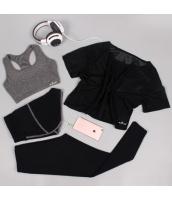 ヨガ フィットネス トレーニング 半袖Tシャツ+タンクトップ+重ね着風パンツ(取り外し可能)4点セット アンサンブル スポーツウェア ピラティス ジム ダンス ランニング シェイプアップ ダイエット xmn1709-9