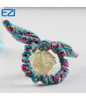 ビーチグッズ リボンシュシュ ヘアゴム 青xピンク色 yd3002-2