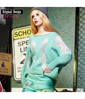 セーター ドルマン袖 クルーネック/丸首 ゆったり 長袖【ライトブルー】[S,M,L,XL,2XL] yj4456-1