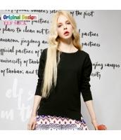 Tシャツ ロンT コットン/綿 サイドスリット テールカット ゆったり 必須アイテム シンプル無地 長袖【ブラック/黒色】[S,M,L,XL,2XL] yj4755-1