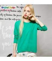 Tシャツ ロンT コットン/綿 サイドスリット テールカット ゆったり 必須アイテム シンプル無地 長袖【グリーン/緑色】[S,M,L,XL,2XL] yj4755-2
