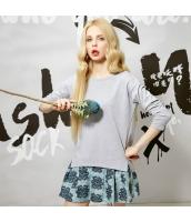 Tシャツ ロンT コットン/綿 サイドスリット テールカット ゆったり 必須アイテム シンプル無地 長袖【グレー/灰色】[S,M,L,XL,2XL] yj4755-6