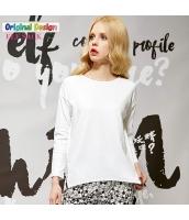 Tシャツ ロンT コットン/綿 サイドスリット テールカット ゆったり 必須アイテム シンプル無地 長袖【ホワイト/白色】[S,M,L,XL,2XL] yj4755-7