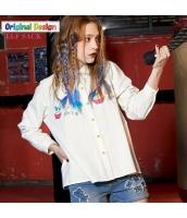 シャツ メルヘンプリント柄 ボタン飾り コットン/綿 ゆったり 長袖【ホワイト/白色】[S,M,L,XL,2XL] yj4779-2