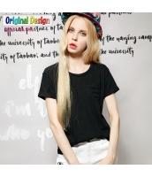 半袖Tシャツ クルーネック/丸首 無地 多色【ブラック/黒】 [S/M/L/XL/2XL] yj4918-3