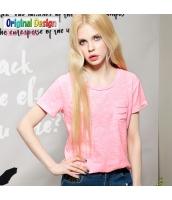 半袖Tシャツ クルーネック/丸首 無地 多色【ピンク】 [S/M/L/XL/2XL] yj4918-4