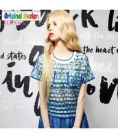 半袖Tシャツ オーガンザ 胸元ポケット クルーネック/丸首【ブルー/藍】 [S/M/L/XL/2XL] yj4923-2
