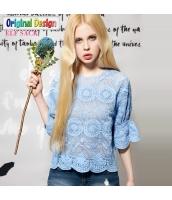 ブラウス オーガンザ 花刺繍レース 七分袖 無地【ブルー/藍】 [S/M/L/XL/2XL] yj4966-2