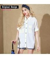 綿コットン100%大きなポッケボーイッシュ角襟五分袖薄手ゆったりロングシャツ【ホワイト/白色】[S,M,L]yj5078-1