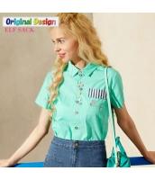 楽しい賑やかボタン ストリートファッション シンプルバックスタイル 角襟半袖コットン100%シャツ【グリーン/緑色】[S,M,L,XL,2XL] yj5148-1