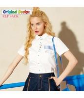 楽しい賑やかボタン ストリートファッション シンプルバックスタイル 角襟半袖コットン100%シャツ【ホワイト/白色】[S,M,L,XL,2XL] yj5148-2