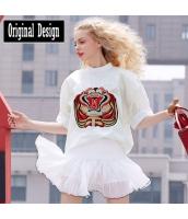 五分袖ブラウス スタンドカラー ドルマン ランタン袖 胸元刺繍 裾非対称 無地【ホワイト/白】[S/M/L/XL] yj5244-1