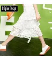 膝丈スカート 刺繍レースホロー レイヤード 裾プリーツ 無地 ウエストゴム【ホワイト/白】[S/M/L/XL] yj5246-1