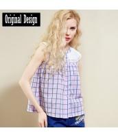袖なしシャツ チェック柄 ラッフル・カラー 裾Aライン ゆったり【ピンク】[S/M/L/XL/2XL] yj5368-1