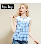 袖なしシャツ チェック柄 ラッフル・カラー 裾Aライン ゆったり【ブルー/藍】[S/M/L/XL/2XL] yj5368-2