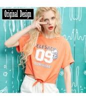 半袖Tシャツ 胸元アルファベットプリント 腰巻き 無地 ストレート【オレンジ/橘】[S,M,L,XL,2XL] yj5473-2