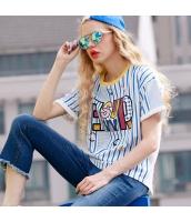 半袖Tシャツ ストライプ柄 胸元アルファベット 背中刺繍レース切替【ブルー/藍】[S,M,L,XL,2XL] yj5476-2