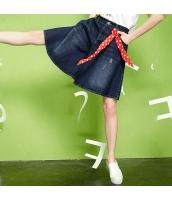 キュロットスカート デニム ウエストゴム 脚口フレア/Aライン ゆったり【ブルー/藍】[S,M,L,XL,2XL] yj5490-1