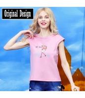 半袖Tシャツ 胸元キャラクター刺繍 クルーネック/丸首 無地【ピンク】[S,M,L,XL,2XL] yj5517-1