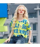 半袖ブラウス アルファベットプリント 裾スカラップ ゆったり ショート丈【イエロー/黄色】[S,M,L,XL,2XL] yj5534-1