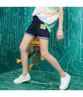 ショートパンツ デニム/ジーンズ ウエストゴム 脚口ロールアップ 刺繍入り【ブルー/藍】[S,M,L,XL,2XL] yj5655-1