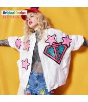 スタンドカラージャケット 貼布刺繍 ゆったり yj5765-1