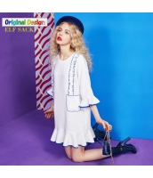 ワンピース ミニ Tシャツワンピ パッチワーク キクラゲ裾 スカラップ マーメイド裾 yj5770-2