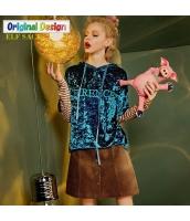 ガーベラレディース スウェット 長袖 フード付き 刺繍 重ね着風 ゆったり yj6079-1