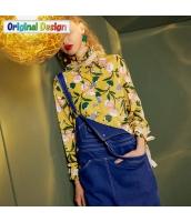 ガーベラレディース シャツ 長袖 ゆったり 花柄 レトロ タートルネック yj6084-1