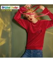 ガーベラレディース Tシャツ・カットソー 長袖 レトロ ゆったり yj6085-1