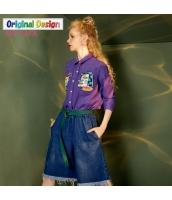 ガーベラレディース シャツ 長袖 ゆったり 学生風 刺繍 yj6086-2