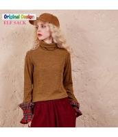 ガーベラレディース タートルネック 着やせ 格子 袖口 Tシャツ ニットウェア セーター yj6151-2